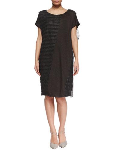 Marina Rinaldi Onda Short-Sleeve Open-Weave & Jersey Combo Dress, Women's