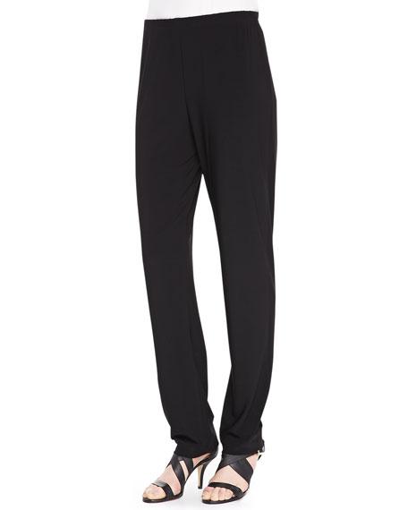 Stretch-Knit Slim Pants, Black