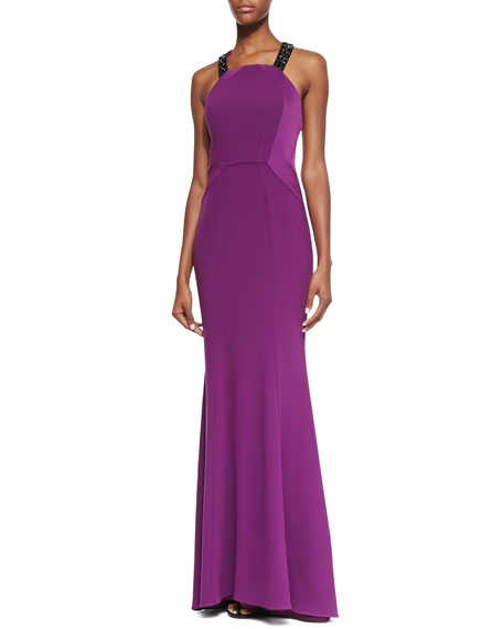 Beaded-Y-Back Seamed Gown