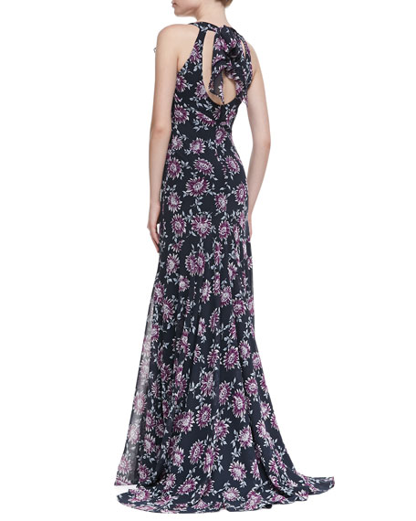 Floral-Print Flutter-Sleeve Gown