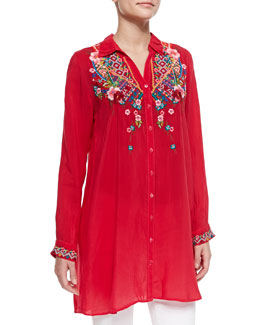 Johnny Was Collection Myra Embroidered Button-Front Blouse