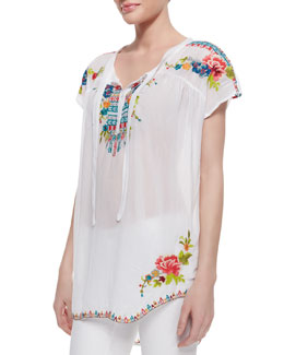 Johnny Was Collection Lily Lake Embroidered Georgette Short-Sleeve Blouse
