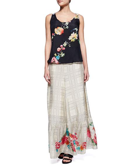 Plaid Georgette Maxi Skirt