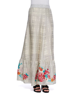 Johnny Was Collection Plaid Georgette Maxi Skirt