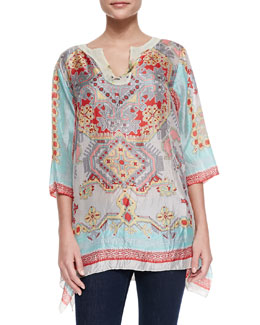Johnny Was Collection Alamo Printed Silk Georgette Tunic