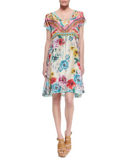 Johnny Was Collection Nanette Silk Knee-Length Dress