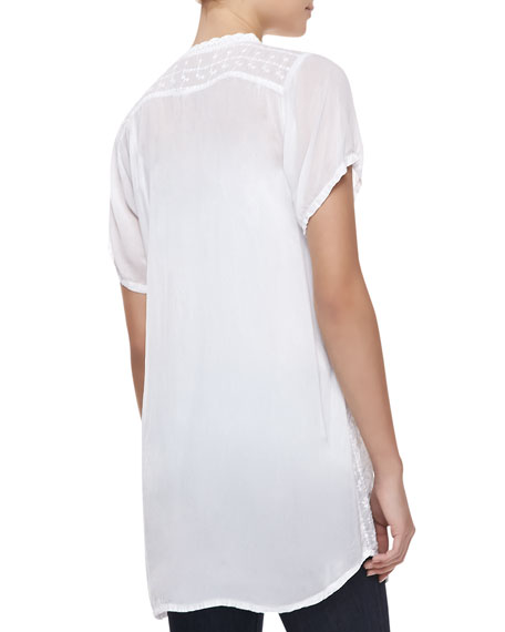 Short-Sleeve Lacy Collage Blouse, Women's