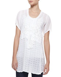Johnny Was Collection Short-Sleeve Lacy Collage Blouse