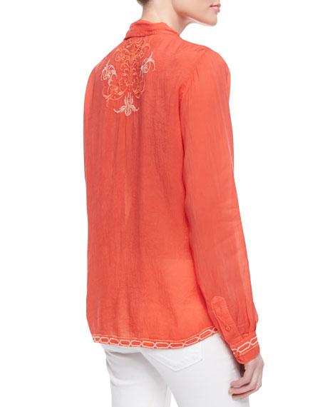Taj Embroidered Long-Sleeve Blouse