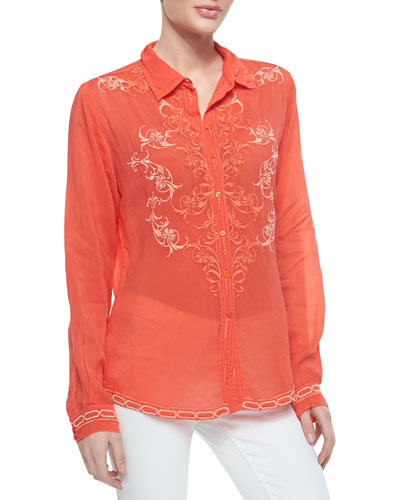 Johnny Was Collection Taj Embroidered Long-Sleeve Blouse
