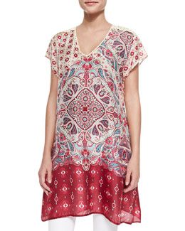 Johnny Was Collection Hollow V-Neck Silk Printed Tunic, Women's