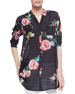 Johnny Was Collection Silk Floral-Print Patch-Pocket Shirt