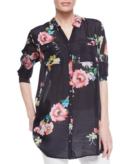 Silk Floral-Print Patch-Pocket Shirt