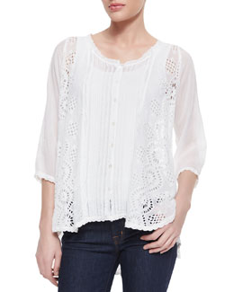 Johnny Was Collection Olivia Mixed-Lace Scallop-Edge Blouse