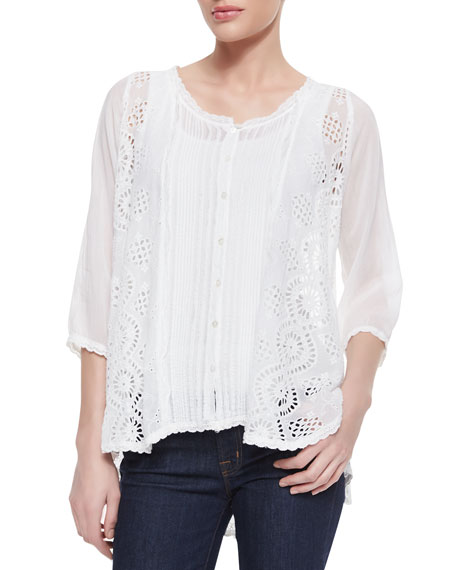 Olivia Mixed-Lace Scallop-Edge Blouse