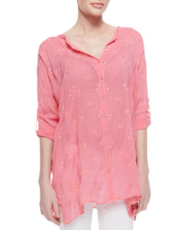 Johnny Was Collection Oversized Embroidered Basic Blouse, Women's
