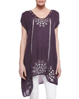 Johnny Was Collection Biz Embroidered Short-Sleeve Tunic, Women's