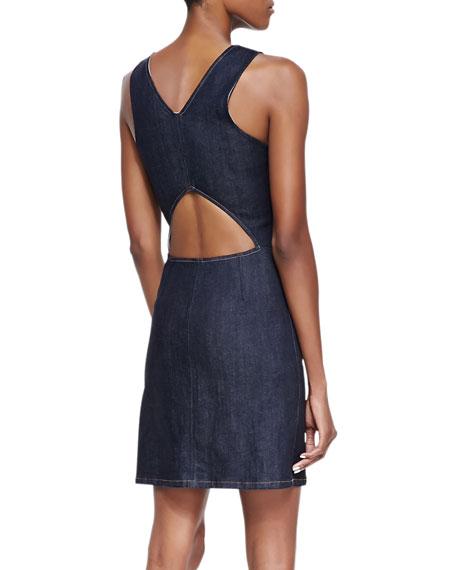Brayla D Terni Front-Zip Denim Sheath Dress, Raw Blue