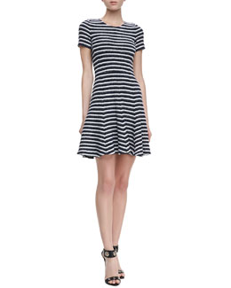 Theory Albita Guarda Short Sleeve Dress, Uniform Black & White