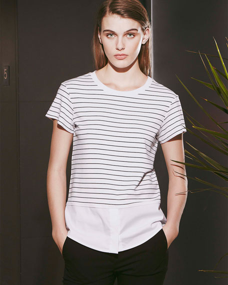 Niceville Striped Mix-Fabric Blouse