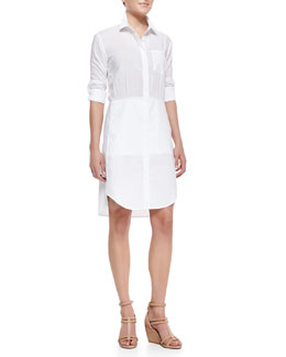 Theory Thema Luxe Twill Stretch Shirtdress