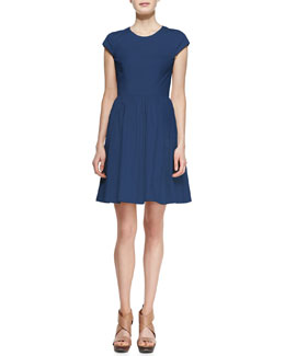 Theory Reska Taranto Cap-Sleeve Dress