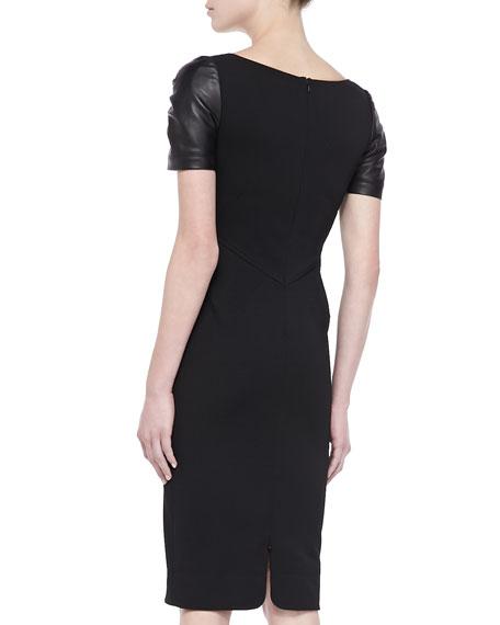 Leather Short-Sleeve Sheath Dress