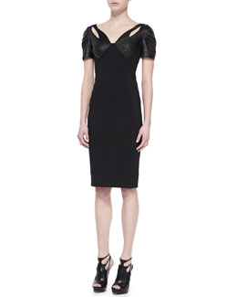 ZAC Zac Posen Leather Short-Sleeve Sheath Dress