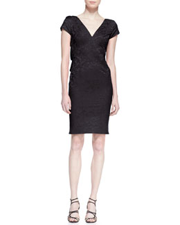 ZAC Zac Posen Short Sleeve Jacquard Sheath Dress, Black