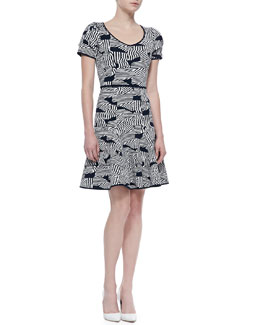 ZAC Zac Posen Short-Sleeve Knit Fit & Flare Dress, Ink/Ivory