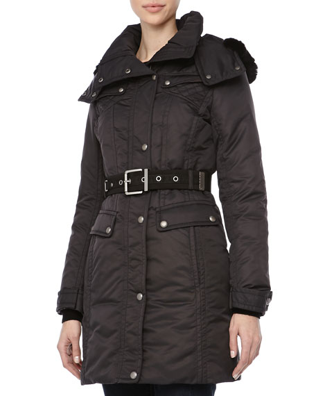 Passion Weather System Belted Coat, Black