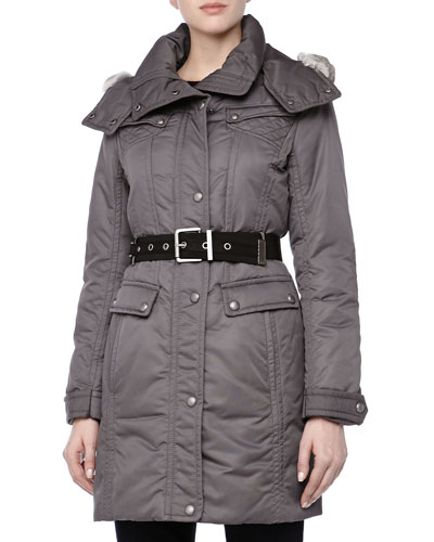 Andrew Marc Passion Weather System Belted Coat, Carbon