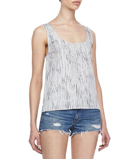 rag & bone/JEAN Simple Rip-Tide-Print Tank