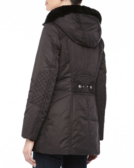 Pulse Outerwear System Coat w/ Fur Trim, Black