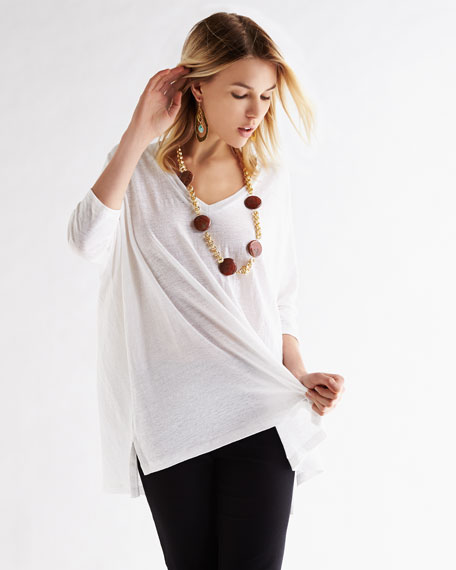 Linen V-Neck Boxy Tunic, Women's