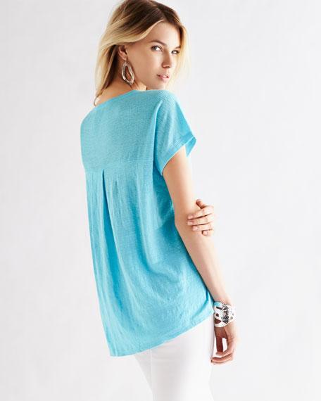 Organic Linen Jersey Cap-Sleeve Top, Women's
