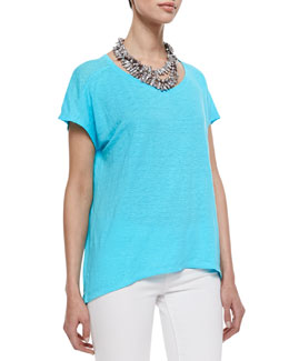 Eileen Fisher Organic Linen Jersey Cap-Sleeve Top, Women's