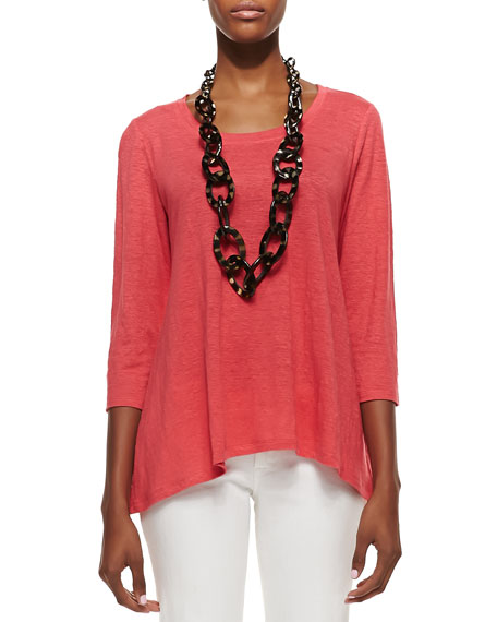 Linen Scoop-Neck Top, Petite