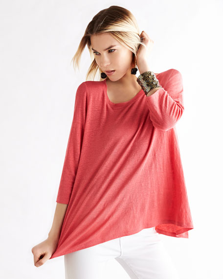 Linen Scoop-Neck Top, Women's