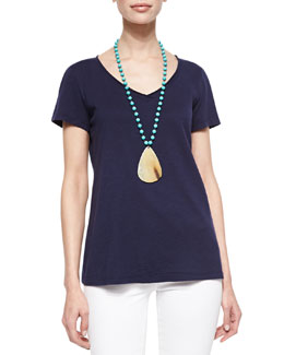 Eileen Fisher Organic Cotton Slubby Tee, Petite