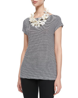 Eileen Fisher Striped Jersey Cap-Sleeve Top