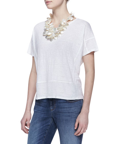 Eileen Fisher Organic Linen Short-Sleeve Box Top