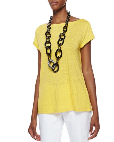 Eileen Fisher Organic Linen Cap-Sleeve Top