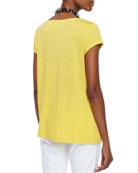 Organic Linen Cap-Sleeve Top, Petite