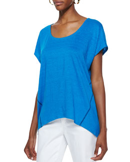 Eileen Fisher Organic Linen Short-Sleeve Box Top, Petite