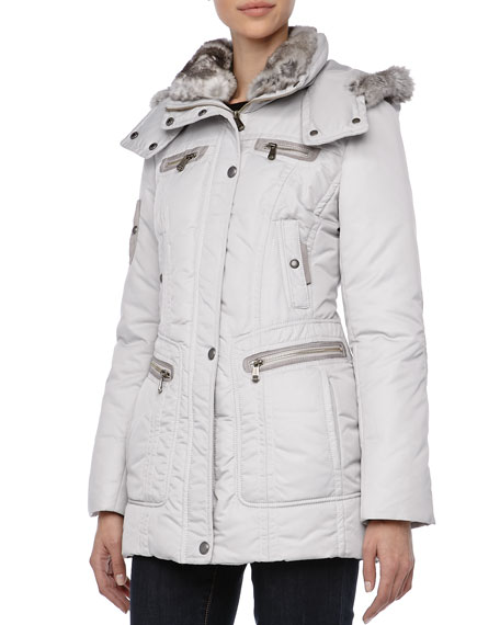 Pulse Outerwear System Coat w/ Fur Trim, Ice