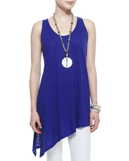 Eileen Fisher Long Racerback Asymmetric Linen Tank