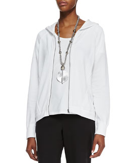 Eileen Fisher Organic-Cotton Hooded-Wedge Cardigan