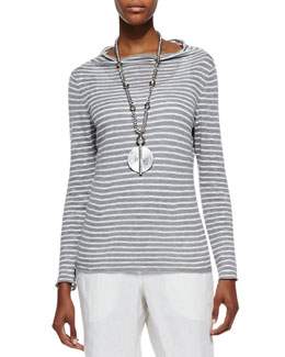 Eileen Fisher Organic Striped Draped-Neck Top, Pewter/White, Petite