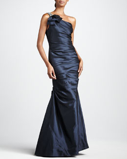 Rickie Freeman for Teri Jon One-Shoulder Taffeta Gown